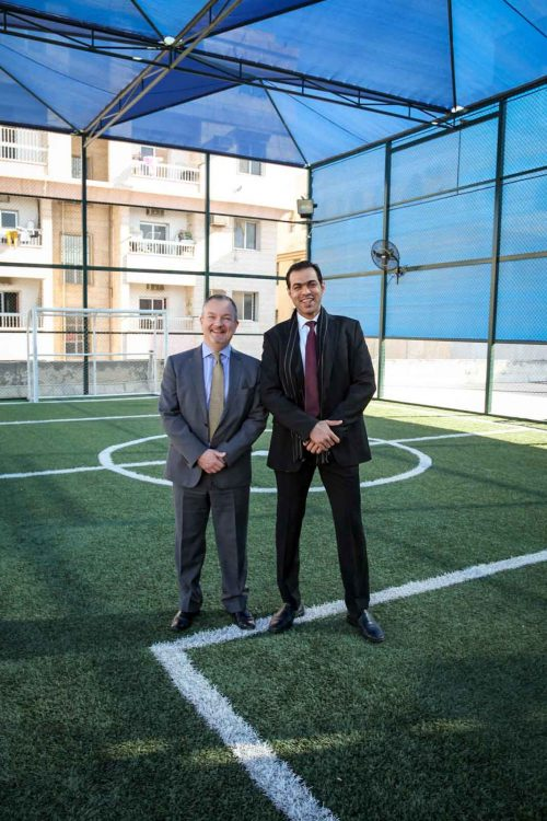 British Ambassador inspects GBA's rooftop football pitch